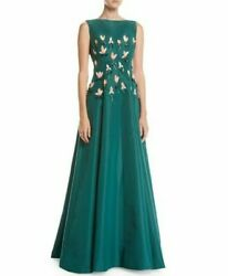 6995 New Lela Rose Tulip Embroidered Silk Teal Green Gown 3 D Flowers Dress 0 2