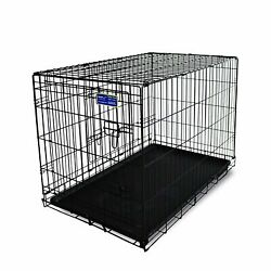Simply Plus Dog Crate [Newly Designed Model] Double-Doors Folding Metal wTray