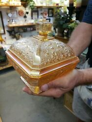 Carnival Glass Square Pedestal Candy Dish With Lid. Orange/red Color.