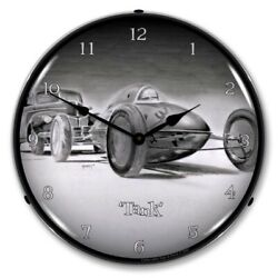 Retro Tank Racer Race Car Game Room Man Cave Backlit Led Lighted Wall Clock New