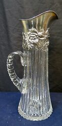 Vintage Shreve And Co. Crystal And Sterling Silver Tall Table Pitcher