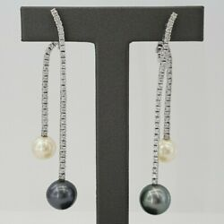 1.62cttw 18k White Gold Diamond And Pearl Hanging Earring