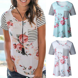 Womens Summer Short Sleeve T-Shirts Tops Floral Striped Cotton Casual Blouse Tee