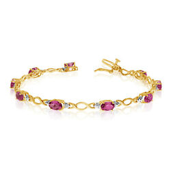 10k Yellow Gold Oval Ruby Stones And Diamonds Tennis Bracelet 7