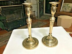 Antique Brass Candlesticks Queen Anne Spun Brass 11 1/4in Tall Circa 1760-80