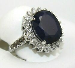 Oval Blue Sapphire And Diamond Halo Solitaire Ring 14k White Gold 12.78ct