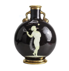 Moore Bros Pate Sur Pate Porcelain Moon Flask Henry 19th Century. Tennis Player