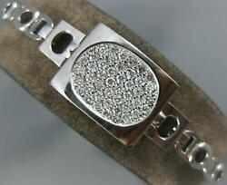 Long And Wide .90ct Diamond 14kt White Gold 3d Oval Pave Square Fun Bracelet 804