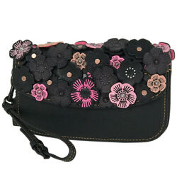 COACH GLOVETANNED with Tea Rose clutch bag clutch bag ? pouch for women leat
