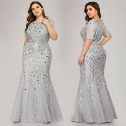 Ever-pretty US Sliver Plus Size Formal Party Dress Sequins Celebrity Prom Gowns