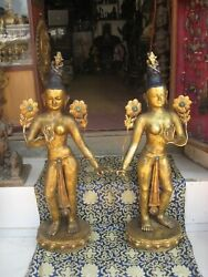 Pair of Antique Master Quality Handmade Tibetan Standing Tara, Nepal