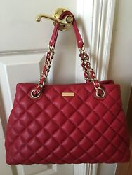 Nwt 100 Authe Quilted Leather Kate Spade Gold Coast Maryanne, Scarlet/red 611