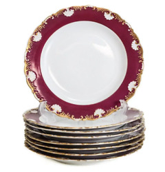 8 Meissen Porcelain Scallop Rimmed Dinner Plates Circa 1900. Maroon And Gilt