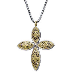 Large Greek Cross Pendant For Womenandrsquos 18k Solid Gold And Sterling Silver 925