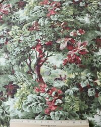 Antique French 19thc Cotton Printed Forest Scenic Home Dec Fabricl-96 X W-32
