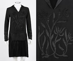 Vtg 1920s Couture Black Georgette Pleated Flapper Dress S Ooak - Museum Quality