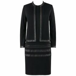 Rudi Gernreich C.1960s 2 Pc Wool Knit And Leather Open Jacket Shift Dress Suit Set