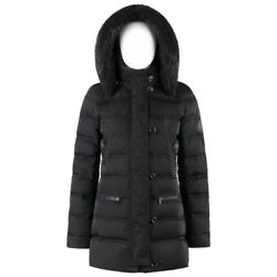 A/w 2013 Black Channel Quilted Beaver Fur Trim Hooded Down Puffer Coat