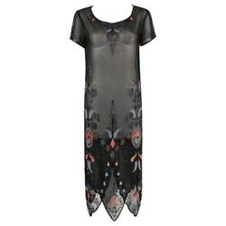 Couture C.1920and039s Black Silk Georgette Floral Glass Beaded Flapper Evening Dress