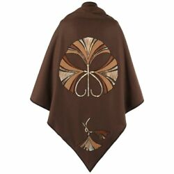 Christian Dior C.1970's Brown Wool And Leather Fan Applique Shawl Cape Rare