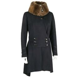 Edwardian C.1910and039s Couture Navy Blue Wool Sheared Fur Military Walking Coat