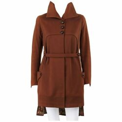 Couture C.1910and039s Edwardian Wwi Brown Wool Belted Military Belted Walking Coat