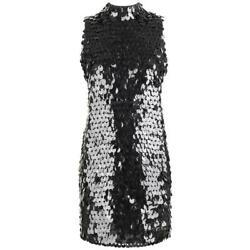 Pierre Balmain C.1960and039s Black Paillette Hanging Knit Shift Cocktail Go Go Dress