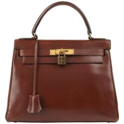 HERMES c.1964 Kelly 28 cm Brown Box Calf Leather Top Handle Purse