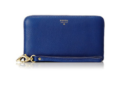 FOSSIL Blue Pebbled Leather Convertible Wristlet Zip Around Wallet Purse