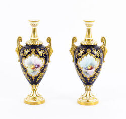 Antique Pair Royal Worcester Porcelain Two Handled Pedestal Ovoid Vases 1903