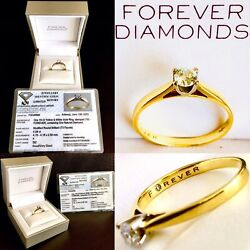 Superb 18ct Gold 0.28ct Solitaire Diamond Engagement Ring With Box And Certificate