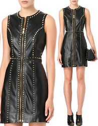 VERSUS VERSACE Studded Leather Dress SZ 40 = Fits US S - NWT