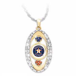Houston Astros Crystal Pendant 18 Inch Silver Chain Mlb Licensed Team Jewelry