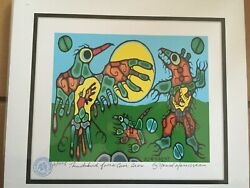 Thunderbird Faces Cave Bear By Norval Morrisseau Ltded Numbered Stamped And Coa