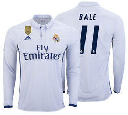 Adidas Gareth Bale Real Madrid Long Sleeve Home Jersey 2016/17 Cwc Fifa Patch.