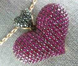 Extra Large 4.69ct Black Diamond And Pink Sapphire 18kt Rose Gold 3d Heart Pendant