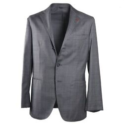 Nwt 4295 Isaia Soft-constructed Gray Check Lightweight Wool Suit 40 R Unlined