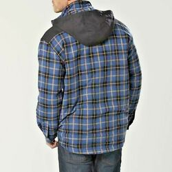 Craftsman Men M To Xxl Flannel Hooded Jacket Lined Blue Plaid Pre-priced 49.