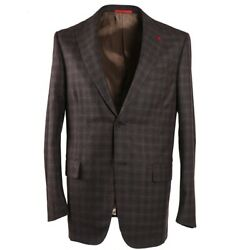 Nwt 3295 Isaia Modern-fit Brown And Gray Check Soft Wool Sport Coat 42 R