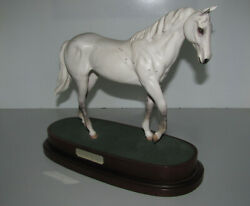 Royal Doulton Desert Orchid Racehorse Figure On A Wooden Base In Mint Condition