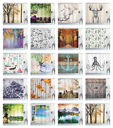 Shower Curtain Fabric Decor For Bathroom With Hooks Ambesonne Mix 70 Inches Long