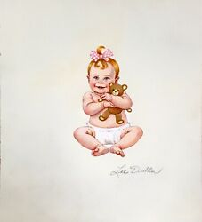 Lee Dubin Baby With Teddy Bear Original Oil Painting On Panel Hand Signed