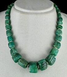 Old Natural Emerald Carved Beaded Necklace 471 Cts Gemstone Zircon Silver Clasp