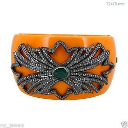 Orange Bakelite 925 Silver Pave Diamond Bangle Bracelet 14k Gold Emerald Jewelry