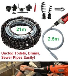 21m+2.5m Pro Drain Pipe Cleaner Drill Addon Plumber Sink Snake Toilet Auger Tool