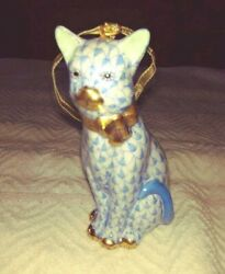 Herend Blue Sitting Cat 24k Gold Accents Hungary 15536 First Edition Gold Ribbon