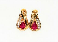 Burmese Ruby And Diamond 1.10tcw 10kt Yellow Gold Stud Womenand039s Earrings