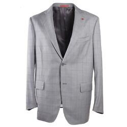 Nwt 3395 Isaia Modern-fit Light Gray Check Super 140s Wool Sport Coat 44 R