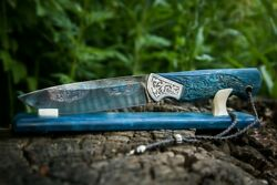 Author's Expensive Premium Mosaic Damascus Steel Knife Northern Lights