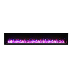 Amantii Basic Clean Face Built-in Electric Fireplace With Glass And Black Steel